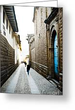 Blue Door In Cusco Greeting Card by Darcy Michaelchuk