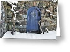 Blue Door In February Greeting Card