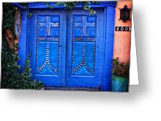 Blue Door In Old Town Greeting Card