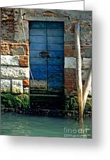 Blue Door In Venice Greeting Card