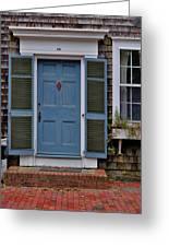 Nantucket Blue Door Greeting Card