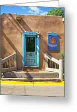 Blue Door On Canyon Road Greeting Card
