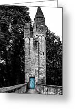 Blue Door Tower Greeting Card