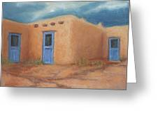 Blue Doors In Taos Greeting Card by Jerry McElroy