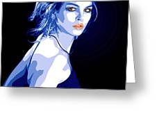 Blue Dress Greeting Card by Tanya Byrd