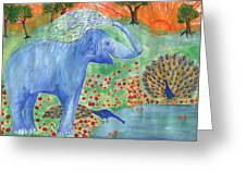 Blue Elephant Squirting Water Greeting Card