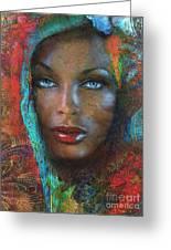 Blue Eyes Dark Oriental Greeting Card