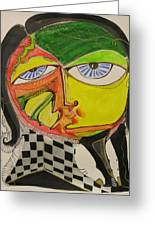 Blue Eyes Yellow Face Greeting Card