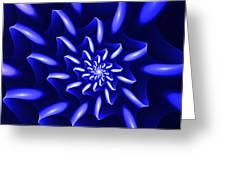 Blue Fantasy Floral Greeting Card