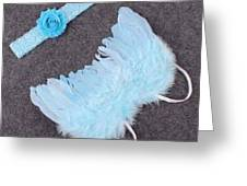Blue Feather Angel Wings And Headband Greeting Card
