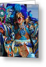 Blue Feather Carnival Costume Full Greeting Card