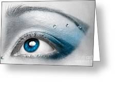 Blue Female Eye Macro With Artistic Make-up Greeting Card