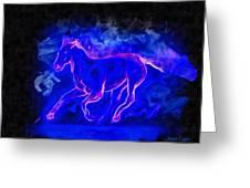 Blue Fire Horse - Da Greeting Card