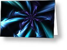 Blue Floral Fractal 12-30-09 Greeting Card
