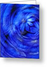 Blue Floral Swirl Greeting Card