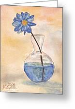 Blue Flower And Glass Vase Sketch Greeting Card