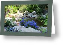 Blue Flowers And Stream Greeting Card