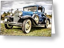 Blue Ford Model A Car Greeting Card
