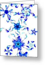 Blue Fractal Flowers Greeting Card