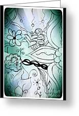Blue Funky Flower Doodles Greeting Card