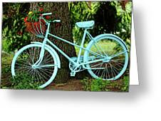 Blue Garden Bicycle Greeting Card
