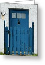 Blue Gate And Door On White House Greeting Card