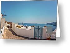 Blue Gate Santorini Greeting Card