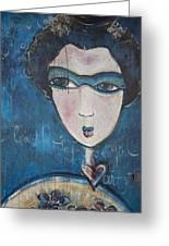 Blue Geisha Love Detail Greeting Card