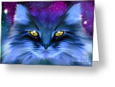Blue Ghost Cat Greeting Card