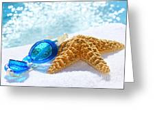 Blue Goggles On A White Towel  Greeting Card by Sandra Cunningham