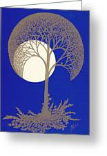 Blue Gold Moon Greeting Card