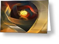 Blue Gold Ribbons Greeting Card