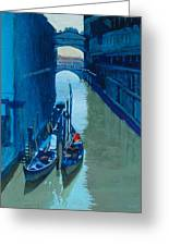 Blue Gondolas Greeting Card