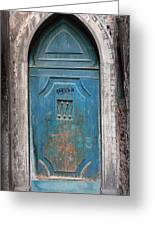 Blue Gothic Door In Venice Greeting Card