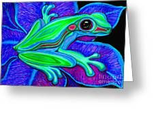 Blue Green Frog Greeting Card