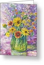 Blue-green Vase Of Wildflowers Greeting Card