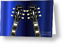 Blue Guitar Reflections Greeting Card