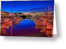 Blue Harbor Red Neon Greeting Card