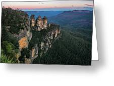 Blue Haze At Sunrise At Ecco Point In Blue Mountains Greeting Card