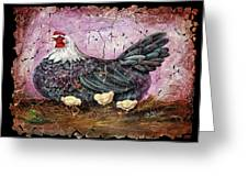 Blue Hen With Chicks Fresco Black Background Greeting Card