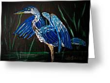 Blue Heron At Night Greeting Card