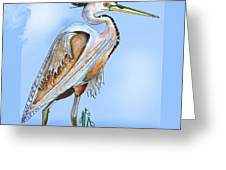 Blue Heron In The Mist Greeting Card