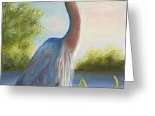 Blue Heron Greeting Card by Joni McPherson