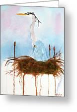 Blue Heron Nesting Greeting Card