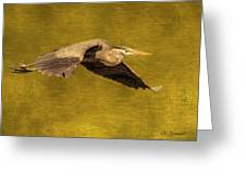 Blue Heron On Gold Greeting Card