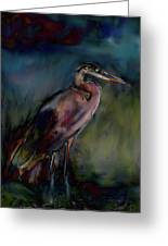 Blue Heron Painting II Greeting Card by Don  Wright