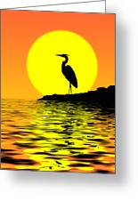 Blue Heron Sunset Greeting Card
