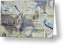 Great Blue Herons Chilling Greeting Card