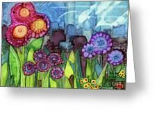 Blue Hoo Hoo Skies Greeting Card