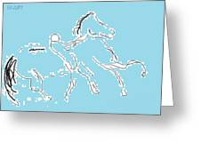 Blue Horse Greeting Card